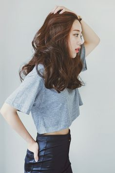 high-waisted leather w/ simple cropped tee