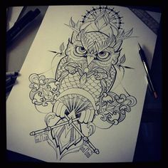 by Silvija - Super 7 Tattoo but just the owl, don't like all the embellishment Like like and Re-like !!!!