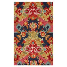 Lend a touch of visual appeal to your living room or master suite with this hand-tufted rug, showcasing a multicolor botanical-inspired motif.