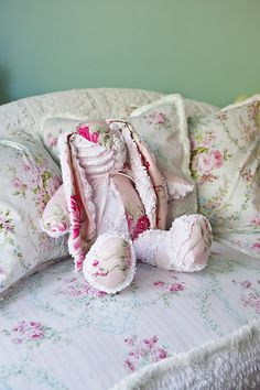 bunny rabbit shabby chic pink vintage chenille bedspread roses baby girl cottage stuffed animal