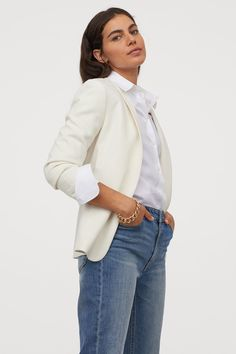 Jacket in woven fabric with a shawl collar, side-seam pockets, and gathered, sleeves. No fasteners. Lined. H M Outfits, Summer Outfits, Lady Grey, Blazer, Fashion Company, Feminine Style, Neue Trends, Work Wear, Shawl