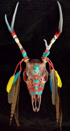 Decorated Deer Antlers & Skull Southwest Decor Wall Art Native American Inspired