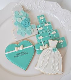 Tiffany Blue Bridal Shower Die Cut Dress by. Fancy Cookies, Iced Cookies, Cute Cookies, Royal Icing Cookies, Cupcake Cookies, Sugar Cookies, Tiffany Blue, Tiffany Party, Tiffany Wedding