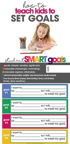 How to Teach Kids to Set Goals | Free Printable Goal List | easy SMART goals for kids, teens & adults | goal setting via @moritzdesigns