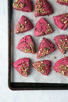 Beet Dark Chocolate Scones With Pistachio Crumble.