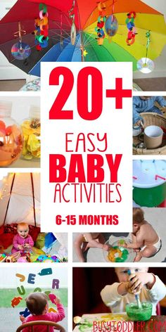 Fun & Easy Baby Activities 20 Fun and Easy Baby Activities: Perfect activities to entertain a baby; easy activities for baby to Fun and Easy Baby Activities: Perfect activities to entertain a baby; easy activities for baby to play Baby Sensory Play, Baby Play, Baby Sensory Bags, Fun Baby, Be My Baby, Infant Activities, Activities For Kids, 7 Month Old Baby Activities, Baby Activites