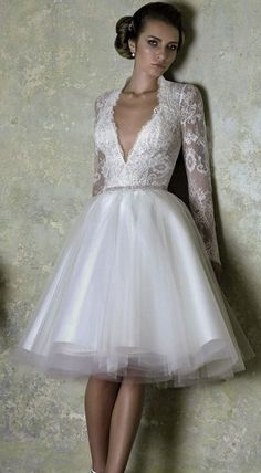 Love Story by Bien Savvy 2013 short wedding dress with long sleeves