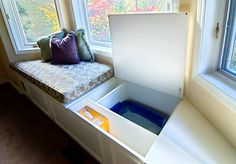 Convenient storage in bay window seating