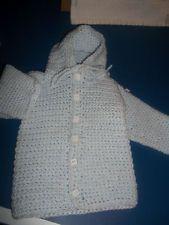 VERMONT HANDMADE INFANT HOODIE SWEATER 0-6 MOS LIGHT BLUE