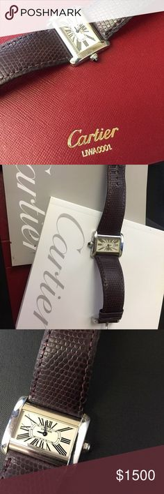 Cartier stainless steal mini tank divan watch parting ways with this watch - missing original box but have paperwork. Cartier Jewelry