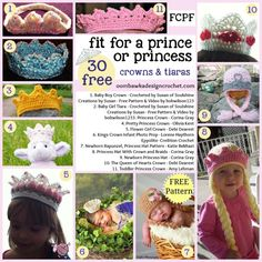30 Free Crochet Patterns Fit for a Prince or Princess - Crowns & Tiaras #FCPF #crochet #freepattern