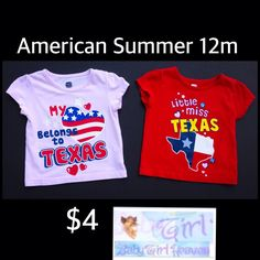 American Summer 12m Infant Girls 2pc Patriotic Texas Shirt Set $2 for both.  Free shipping with $30 purchase.  Baby Girl Heaven on Facebook
