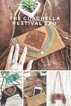 Get festival ready with our new Coachella Festival Bag. This gorgeous little bag has room for cash, cards, lipgloss and your phone for the girl who likes to carry light to be free to dance the day away. This gorgeous hand tooled leather bag easily converts to a clutch/wallet with removable strap. #leatherbag #coachella #musicfestivals #festivalfashion #festivalstyle #festivalbags #leatherbags #handmade #leatherclutch #leatheraccessories