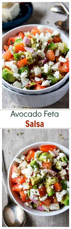 Avocado Feta Salsa   www.diethood.com   Avocados, tomatoes, and feta cheese combined to make a chunky, savory, delicious Salsa dip!