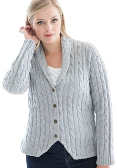 Plus Size Cable Blazer Cardigan