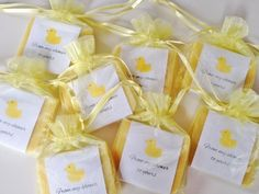 Yellow Duck Theme Soap Favors For Baby Shower With Organza Bags 100% Natural Cold Processed