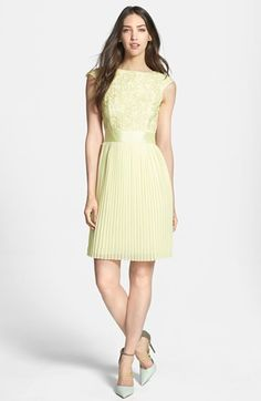 ted baker lace detail a-line pleated skirt dress in pale lemon yellow {40% now during Nordstrom's Half Yearly Sale!}