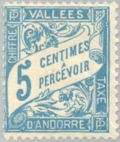 Sello: Numerals (Andorra (Administración Francesa)) (Drawing like Postage due stamps from France) Yt:AD-FR T17,Mi:AD-FR P17,Sn:AD-FR J17,Edi:AD-FR T17