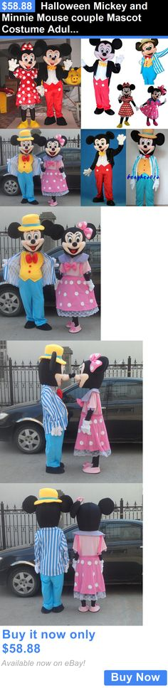 Halloween Costumes: Halloween Mickey And Minnie Mouse Couple Mascot Costume Adult Fancy Dress Party BUY IT NOW ONLY: $58.88