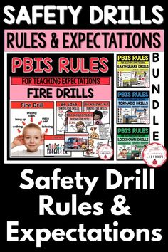 This safety drills rules and expectations resource is full of posters and materials to accompany the teaching of your school's PBIS rules. I like to use these materials from the very first day of school to teach my students the right way to follow our fire, earthquake, tornado, and lockdown safety procedures. From finding cover and holding on, to staying calm, these materials are sure to teach your students how to be safe during safety drill!