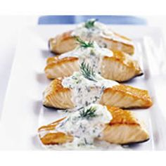 Salmon with cream cheese and dill sauce.  Serve with a fresh salad or grilled asparagus or steamed green beans?