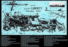 Liberty SHIP WRECK Map Scuba Diving Bali, Uss Houston, Ship Wreck, Trek, Liberty, Survival, Map, Political Freedom, Freedom