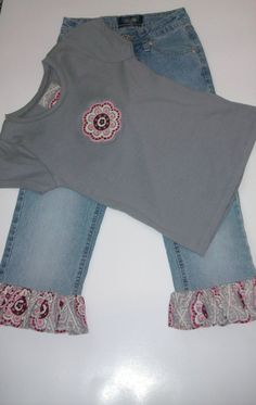 FOR GRACE OR KYLIE, Paige would like a band on bottom of jeans custom boutique toddler ruffle pants, girls pants set , outfit, children's clothing /size 6X $35.00