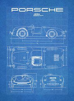 PORSCHE 550 SPYDER DIAGRAM VINTAGE RACECAR - BLUEPRINT 911 356
