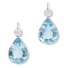 A PAIR OF STUNNING AQUAMARINE AND DIAMOND EAR PENDANTS   Each suspending a pear-shaped aquamarine, to the old-mine and cushion-shaped diamond surmount weighing 3.10 and 3.06 carats, mounted in platinum, 5.3 cm long