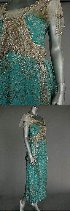 Turquoise and Silver 1920s Evening Dress
