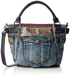 Desigual Mcbee New Red Cross-Body Bag Diy Bags Jeans, My Bags, Purses And Bags, Mochila Jeans, Jean Purses, Diy Sac, Denim Ideas, Handmade Purses, Old Jeans