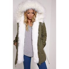 Jen Cream Faux Fur Lined Premium Parka Coat-L (€67) ❤ liked on Polyvore featuring outerwear, coats, white, white coat, white parka coat, faux fur lined parka, cream coat and zip coat