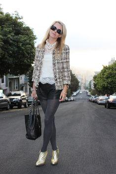 tweed jacket with leather shorts