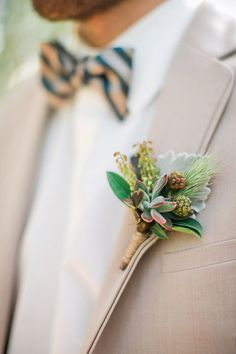 6 Succulent Boutonnieres That Will Look Amazing on Your Guy | Brides.com