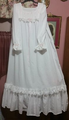 Victorian -Renaissance - Heirloom style - White Cotton floor length nightgown - Handmade to order Night Gown Dress, Vintage Nightgown, Pyjamas, Nightwear, Designer Dresses, Cute Outfits, Victorian, Fashion Outfits, Night Gown Vintage
