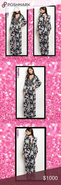 "⭐️⭐️COMING IN 2-3 DAYS RESERVE YOUR SZ TODAY⭐️⭐️ New Stunning Floral Keyhole Back Jumpsuit Color: Black Floral Manufactured in China Material: 100% Rayon Contrast: 100% Rayon Sizes Avail: Small, Medium, Large Fits true to size  Approx measurements taken from Small: Bust: 30"" Waist: 26"" Length: 57""  💠💠PRICE FIRM UNLESS BUNDLED💠💠 ⭐️⭐️SORRY NO TRADES AND LOWBALL OFFERS WILL BE IGNORED ⭐️⭐️ 🌺🌺ADDITIONAL MEASUREMENTS AVAIL UPON REQUEST 🌺🌺 Glam Squad 2 You Pants Jumpsuits & Rompers"