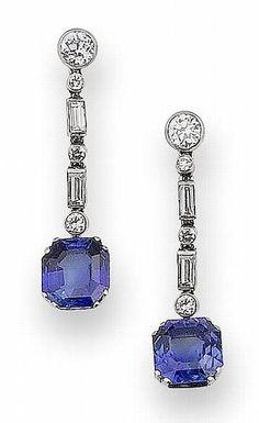 Art deco sapphire and diamond pendent earrings, circa 1930