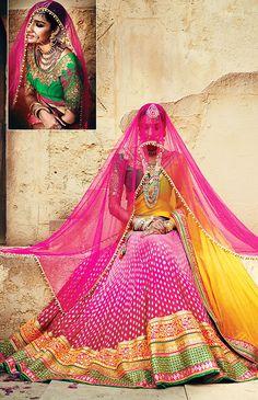 Yellow and Pink #Lehenga  Saree @ http://www.indiandesignershop.com/product/yellow-pink-lehenga-saree/