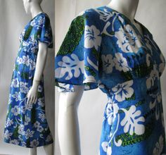 Hawaiian butterfly sleeve luau dress with wrap by afterglowvintage, $42.00