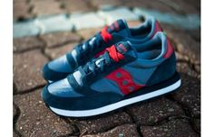 """The Saucony Jazz Original """"Navy/Red-White"""" combines classic silhouette with the right hint of decadent luxury."""