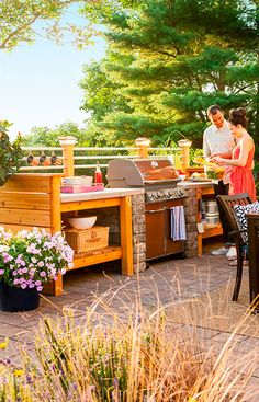 Surround A Grill With Plenty Of Attractive Weatherproof Work E And Handy Storage Lowe S Creative Ideas We Can Definitely Make Smaller Version