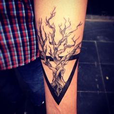 Tree Without Leaves In Prism Tattoo Design For Forearm