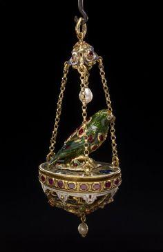 Ruby, pearl, enamel and gold Renaissance parrot pendant.