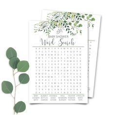 Printable Greenery Baby Shower Word Search, Eucalyptus Baby Shower Word Search Game, Botanic Baby Shower Word Search Game INSTANT DOWNLOAD