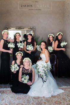 Black bridesmaids Dresses, Elegant Bridal Bouquet, white orchid bouquet, soft green and white roses cascading bouquet. Best bridal bouquet, luxury bridal bouquet