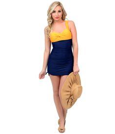 #PinUp Style Color Block Two Piece Swimsuit #uniquevintage