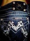 New MISS ME faux flap Silver M pocket dark SIGNATURE BOOT jeans-plus size 34 18