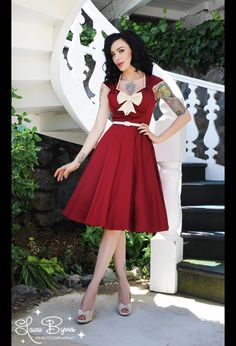 The Heidi Dress in Ruby Red with Creme Bow