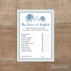 Blue Price is Right Game, Blue Elephant Baby Shower Game, Baby Boy Shower Game, INSTANT DOWNLOAD by laprintables on Etsy (null)