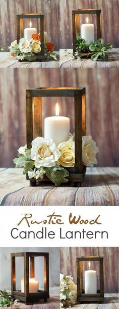 Diy wedding centerpieces 771734086121342736 - Rustic Wood Candle Lantern – perfect for a rustic farmhouse wedding or rustic farmhouse home decor! Diy Centerpieces, Table Decorations, Centerpiece Flowers, Wood Wedding Centerpieces, Rustic Lantern Centerpieces, Wedding Ideas Candles, Succulent Centerpieces, Garden Decorations, Deco Champetre